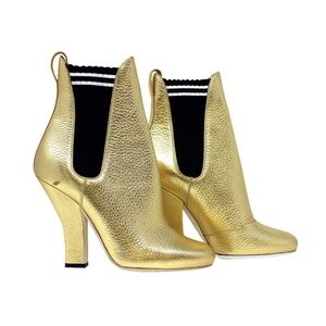 Fendi Gold Metallic Leather Ankle Bootie 40